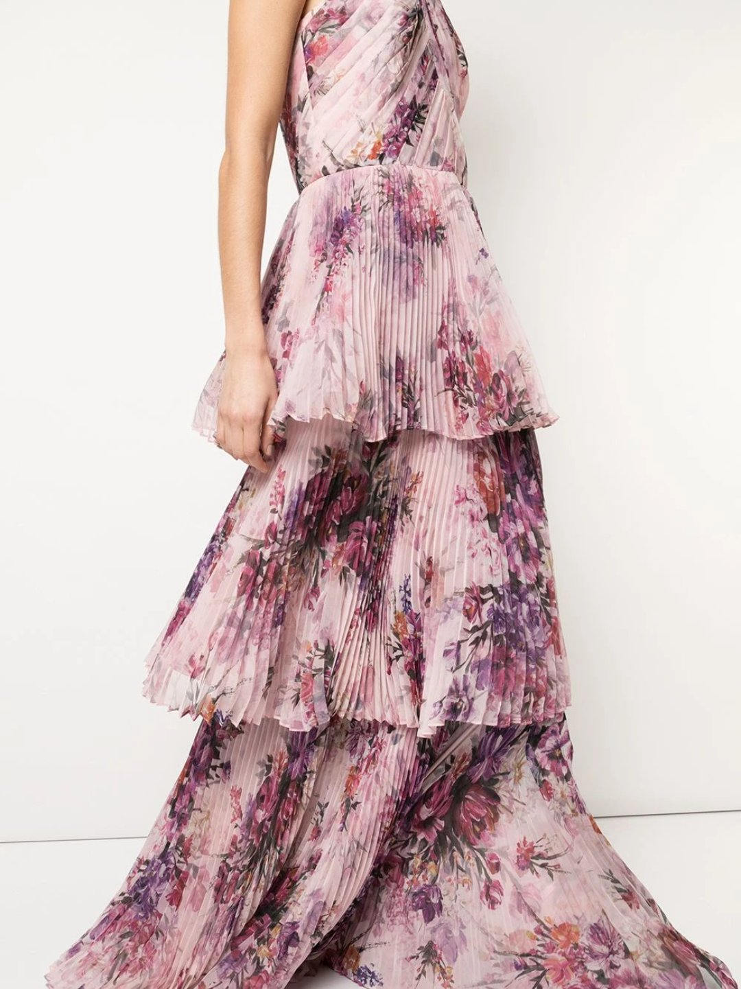 Pleated Chiffon Tiered Halter Gown