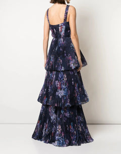 Load image into Gallery viewer, Pleated Chiffon Tiered Halter Gown