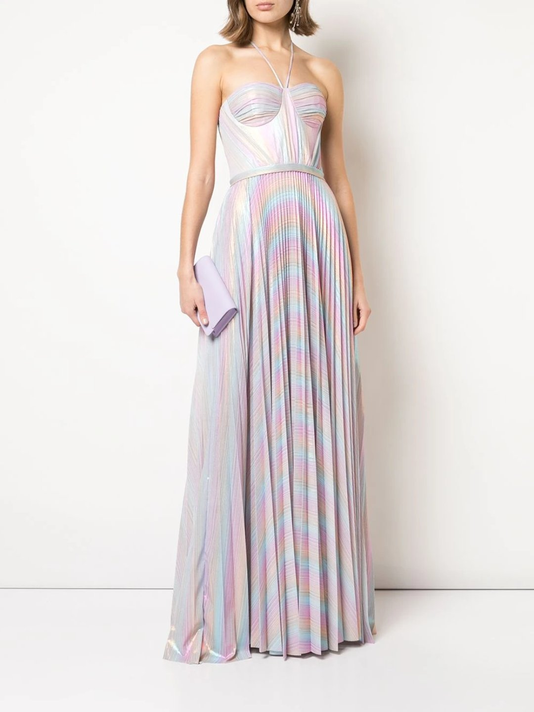 Pleated Metallic Lame Gown