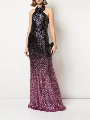 Sequin Halter Mermaid Gown