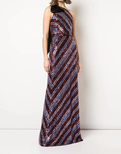 Load image into Gallery viewer, One Shoulder Sequin Slim Gown