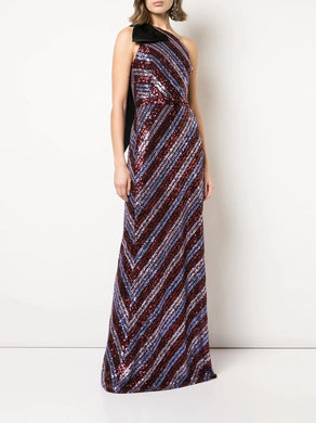 One Shoulder Sequin Slim Gown