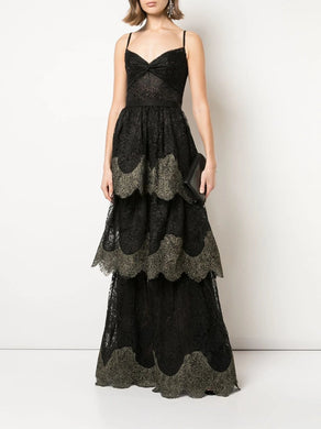Scallop Tiered Metallic Lace Gown