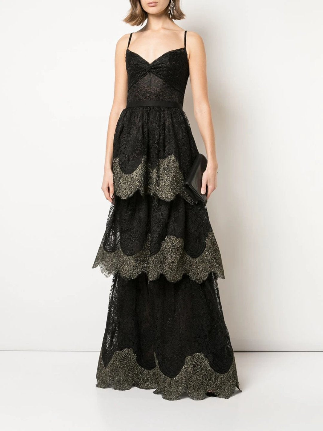 Twisted Tiered Metallic Lace Gown