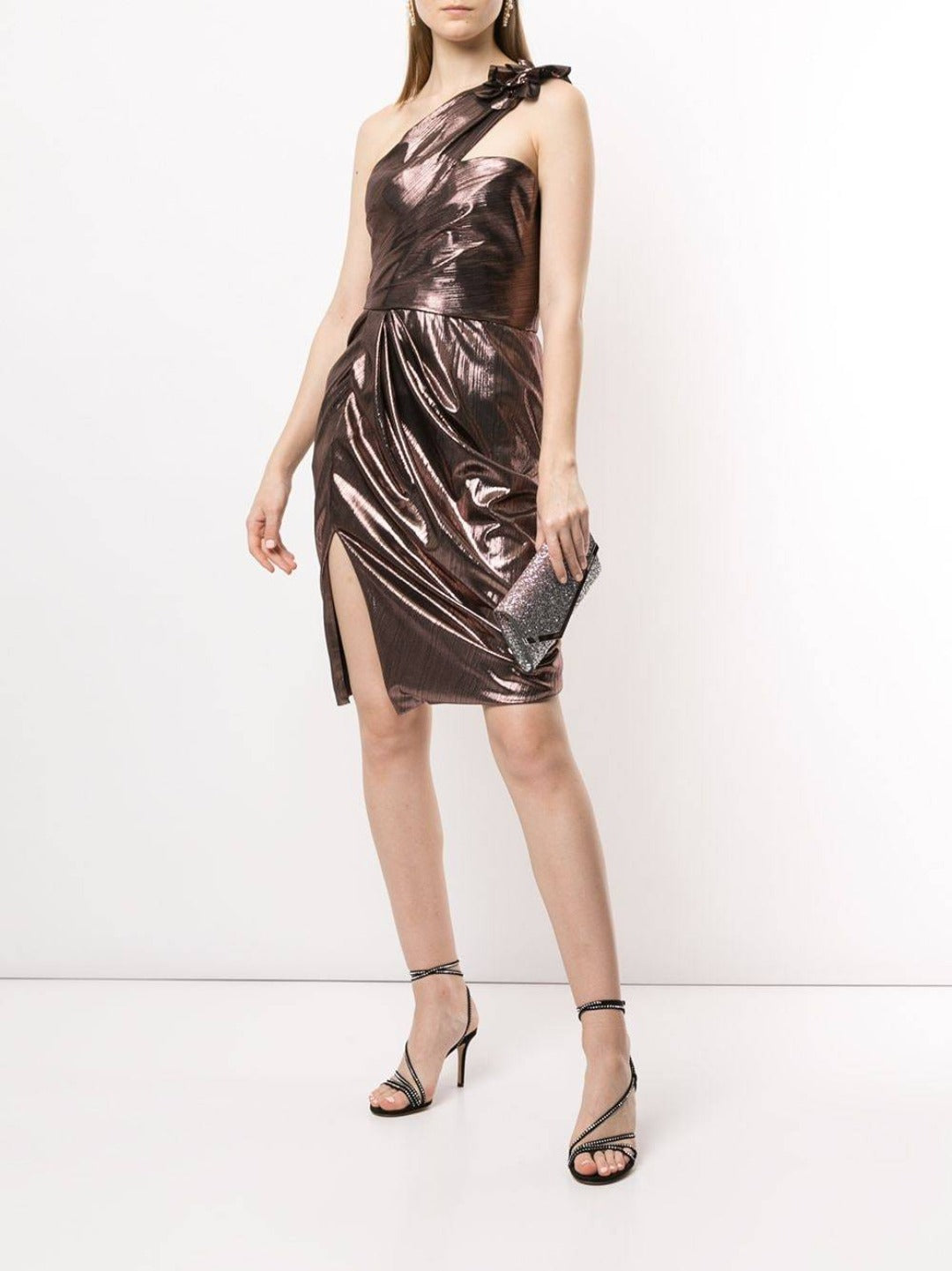 One-Shoulder Draped Lamé Cocktail Dress