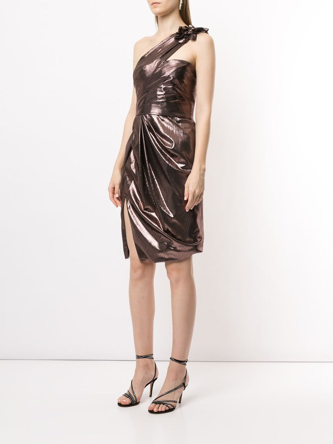 One-Shoulder Draped Lame Cocktail Dress