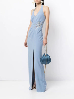 Pleated Halter Column Gown