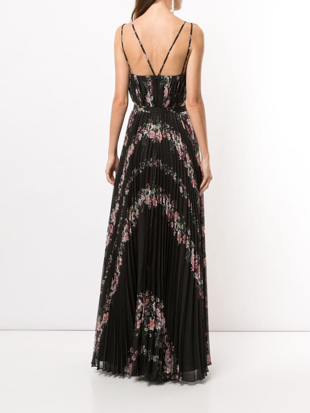 Pleated Chiffon V-Neck Gown