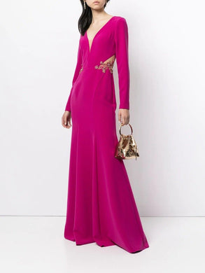 Crepe Long Sleeve Mermaid Gown