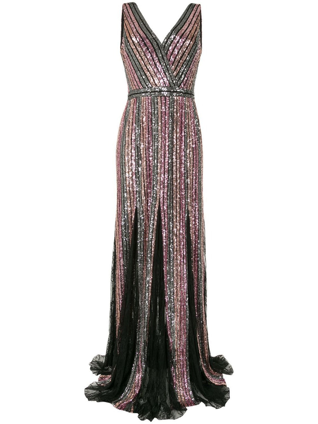 Striped Sequin Sleeveless Gown