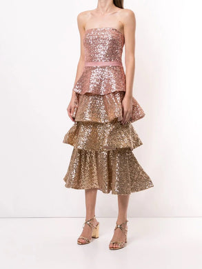 Strapless 4 Tiered Sequin Cocktail Dress