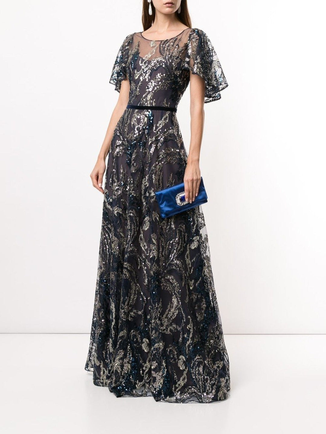 Sequin Draped Sleeves Gown
