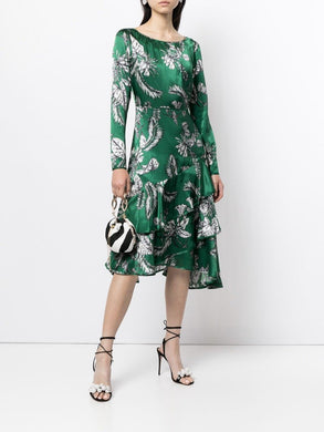 Asymmetric Flounce Cocktail Dress Green
