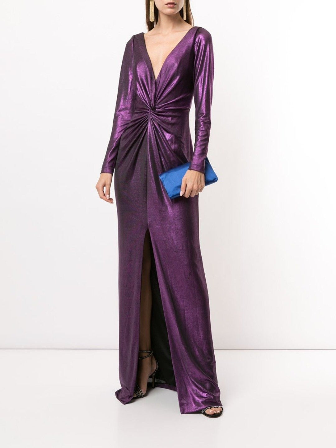 Long Sleeve Metallic Gown