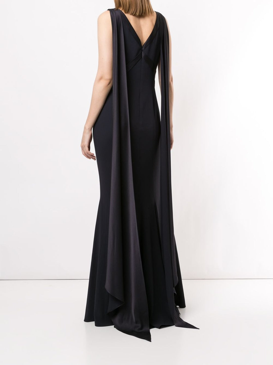 Draped Mermaid V-neck Gown