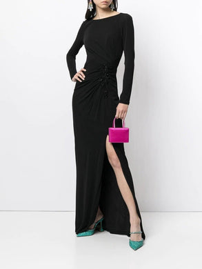 Long Sleeve Crepe Gown