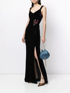 Sleeveless V-neck Draped Gown