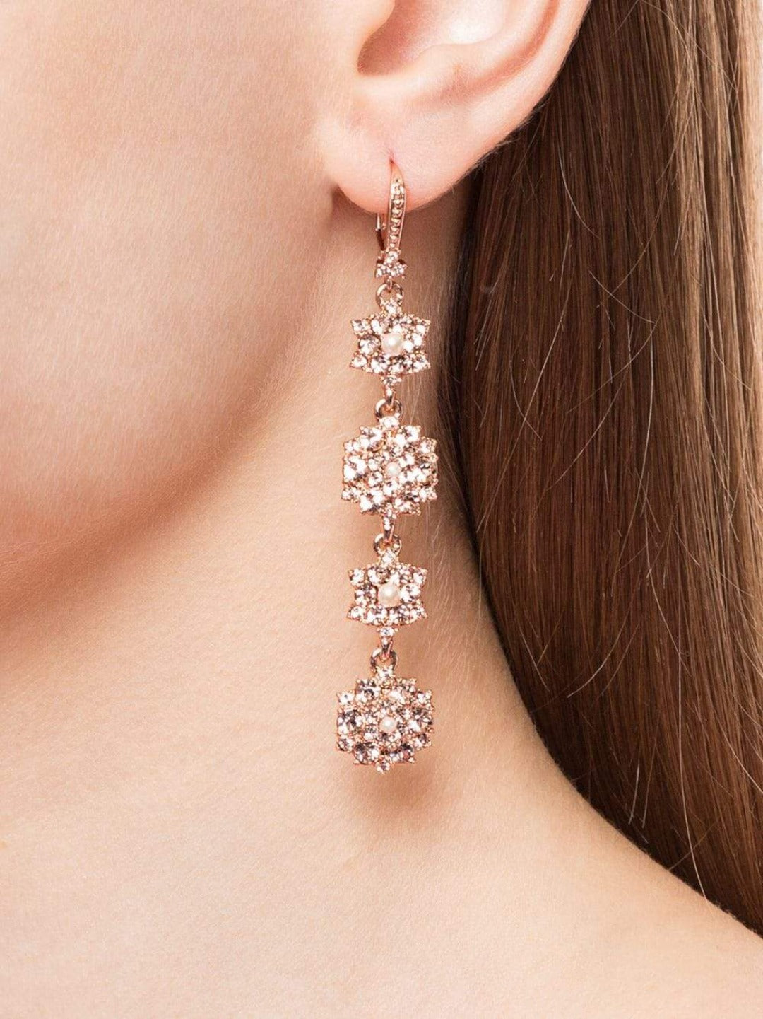 Long Floral Crystal Earrings