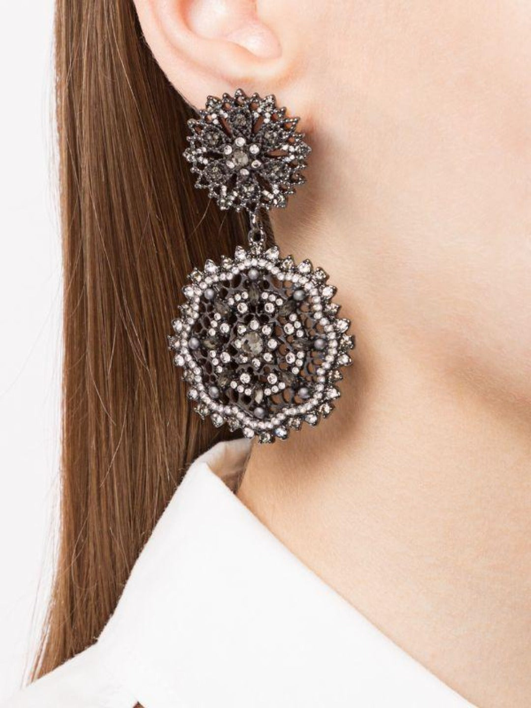 Double Crystal Drop Earrings