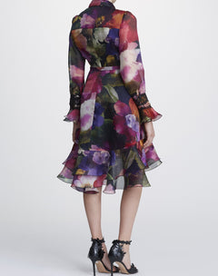 Load image into Gallery viewer, Floral poplin shirt dress