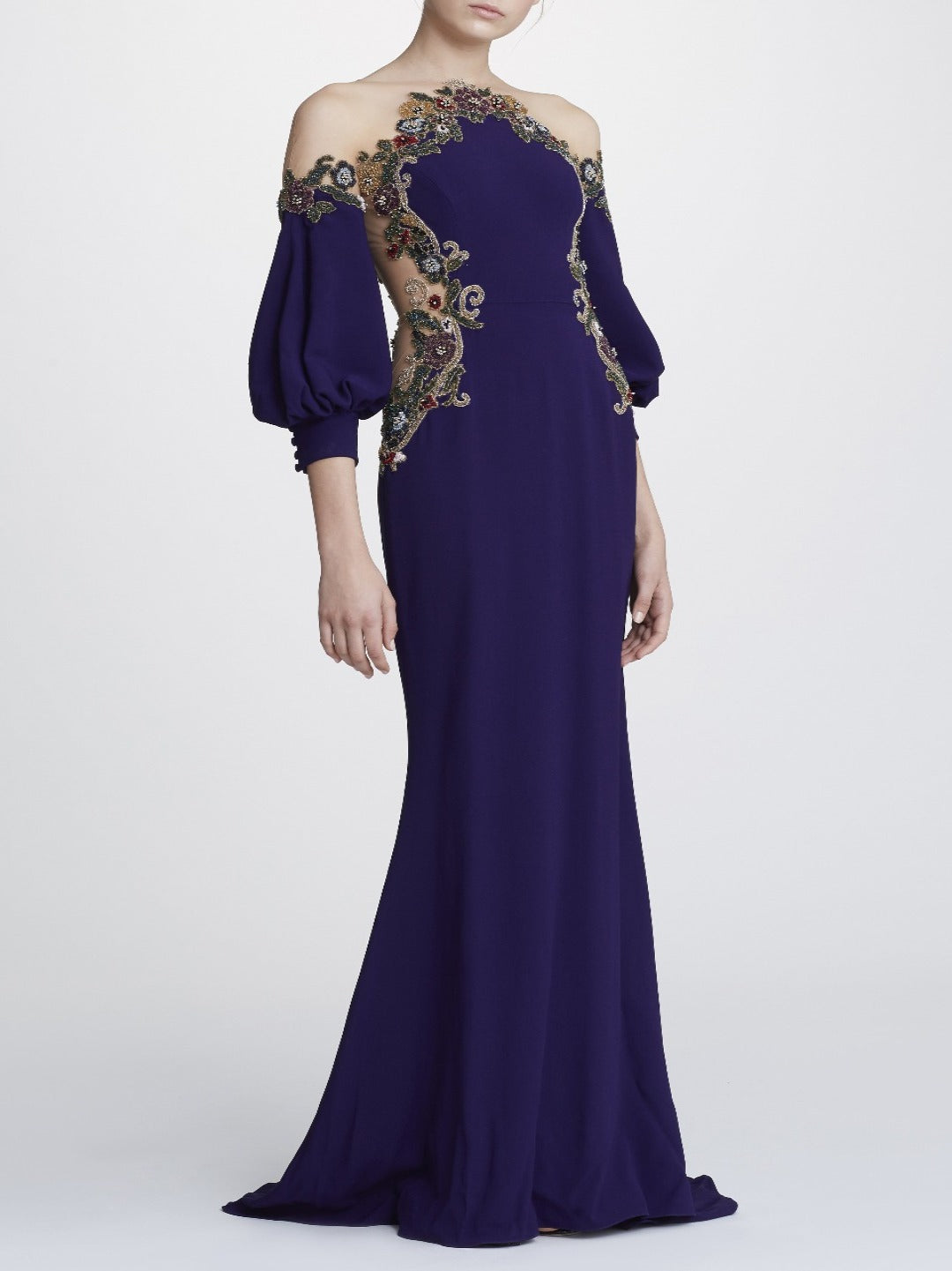 fd904686a46 Illusion neck embroidered gown