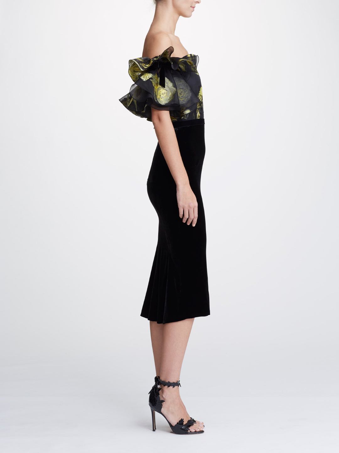 Jacquard Off-the-Shoulder Tea-Length Dress