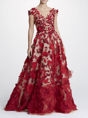 Ballgown With Scarlet Threadwork