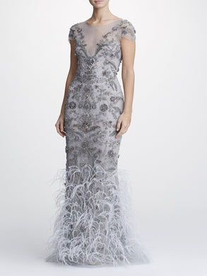 Tulle Column Gown With Ostrich Feather Embroidery