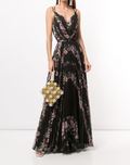 Load image into Gallery viewer, Pleated Chiffon V-Neck Gown