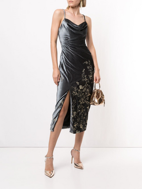 Sleeveless Draped Cowl Neck Dress