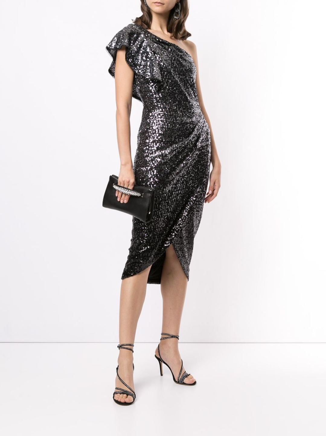 One Shoulder Sequin Wrap Tea-Length Dress