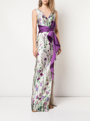 Strapless V-neck Printed Gown