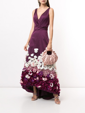Flower Embellished High-Low Gown