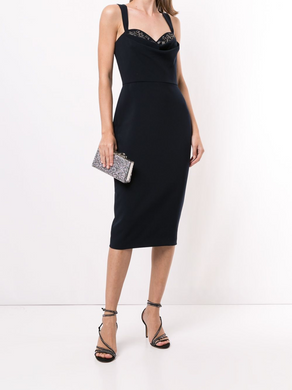 Fitted Cowl Neck Cocktail Dress