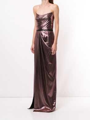 Strapless Metallic Lame Gown