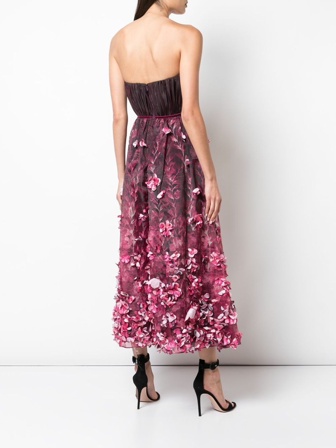 Draped Floral Print Organza Tulle Dress