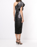 Load image into Gallery viewer, One Shoulder Sequin Wrap Tea-Length Dress