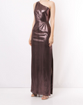 Load image into Gallery viewer, One-Shoulder Metallic Jersey Gown