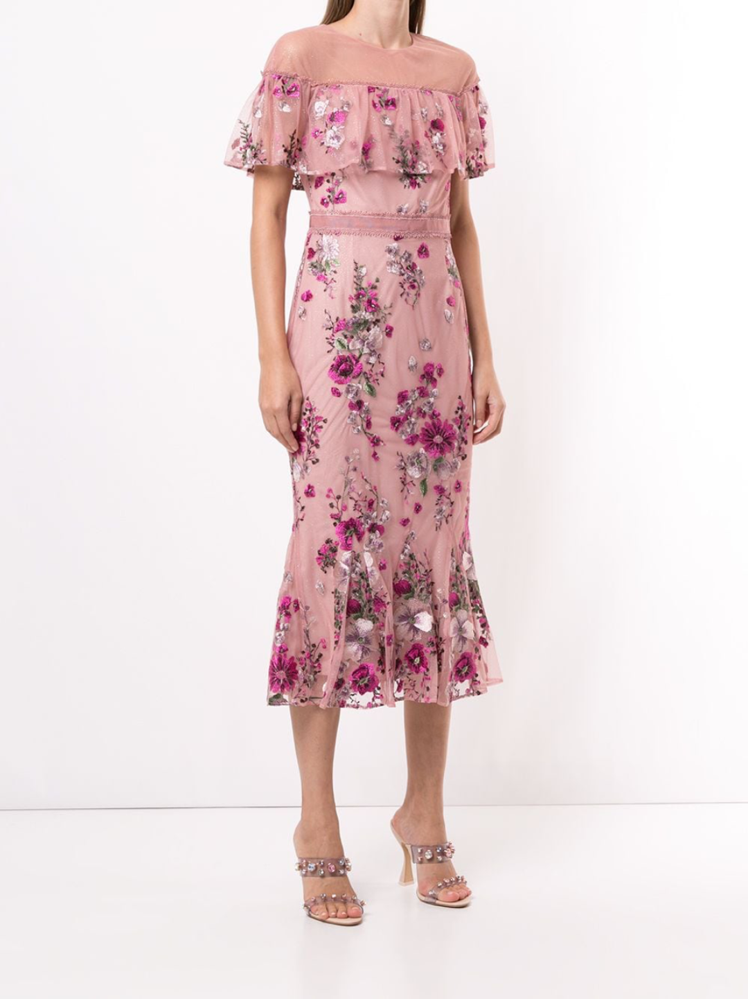 Off-Shoulder Metallic Floral Cocktail Dress