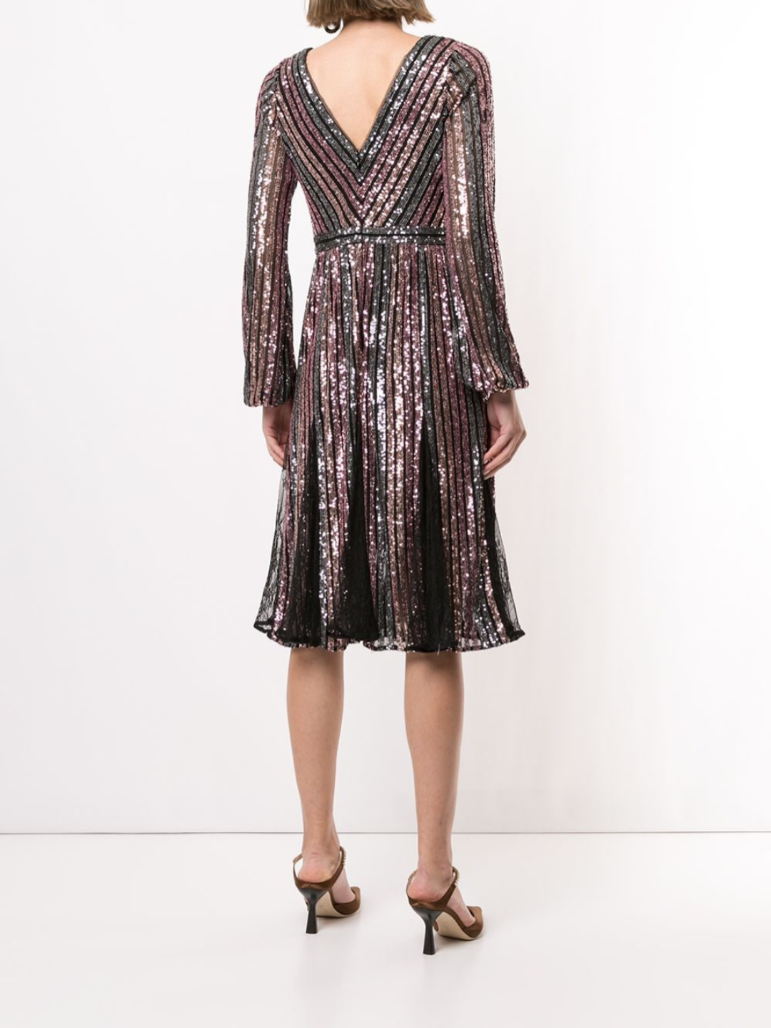 Striped Sequin Long Sleeve Cocktail Dress