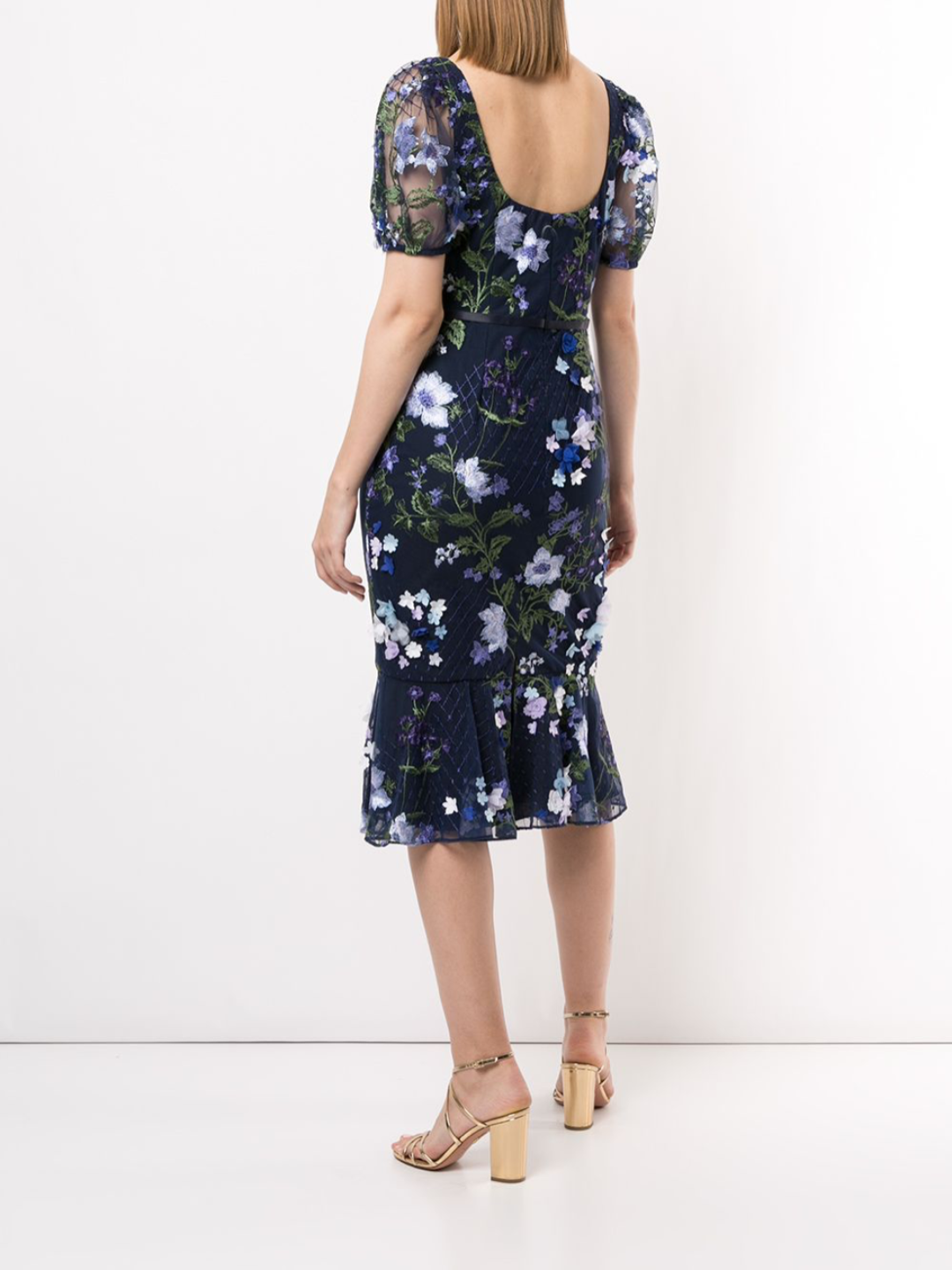 Sleeveless Floral Embroidered Cocktail Dress