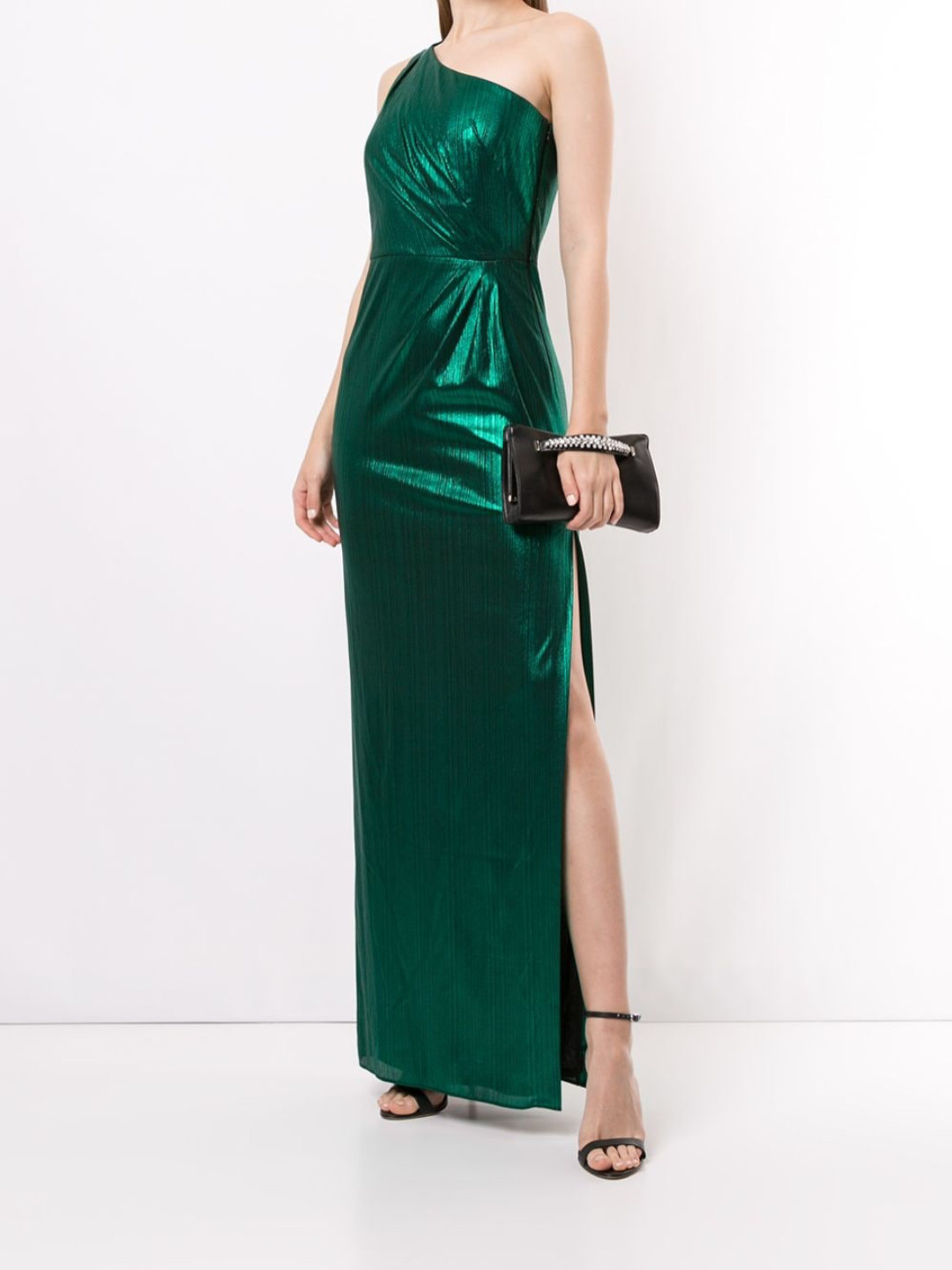One-Shoulder Metallic Jersey Gown