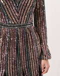 Load image into Gallery viewer, Striped Sequin Long Sleeve Cocktail Dress