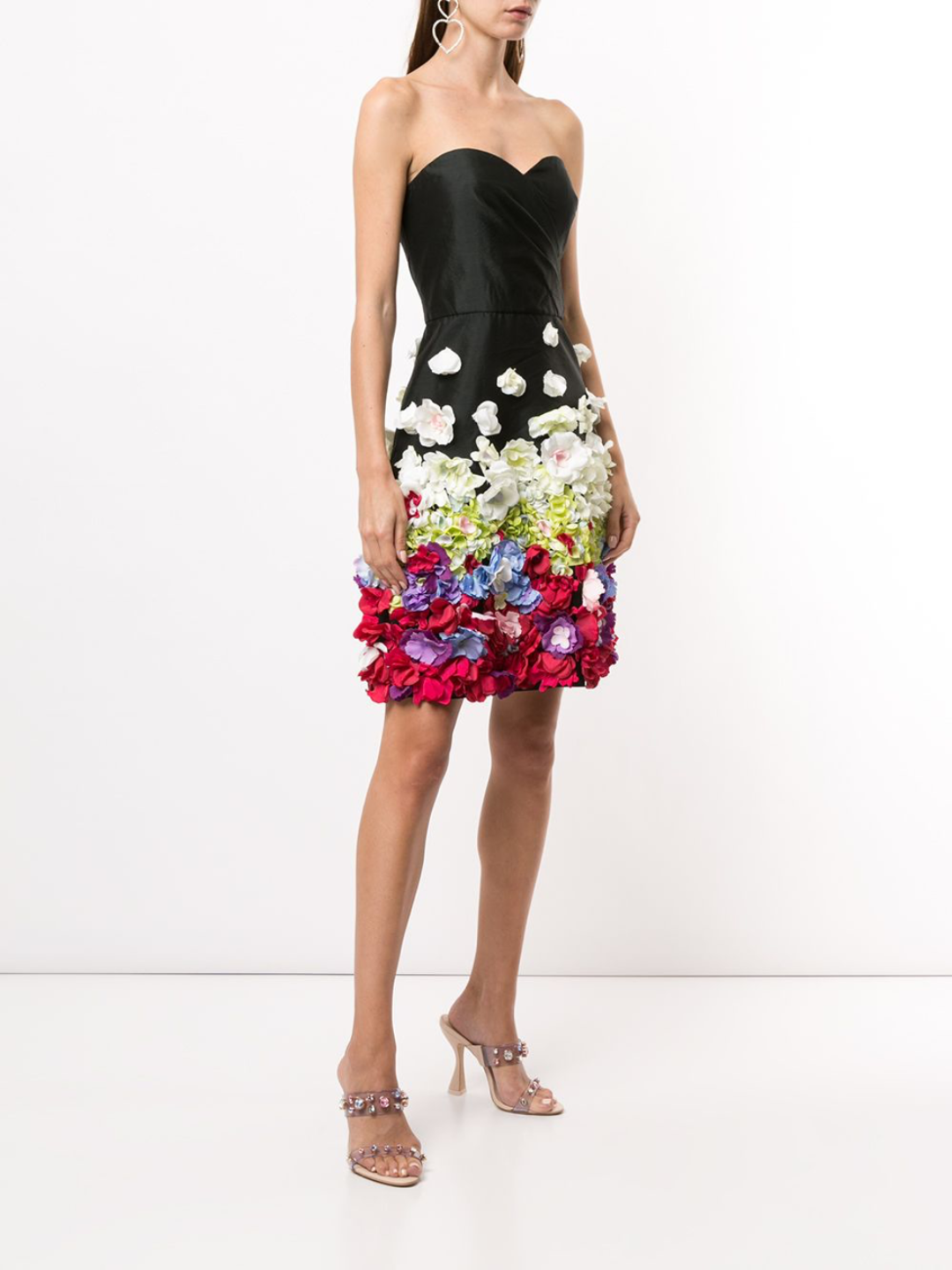 Strapless Draped Floral Cocktail