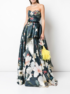 Strapless Floral Beaded Corset Gown