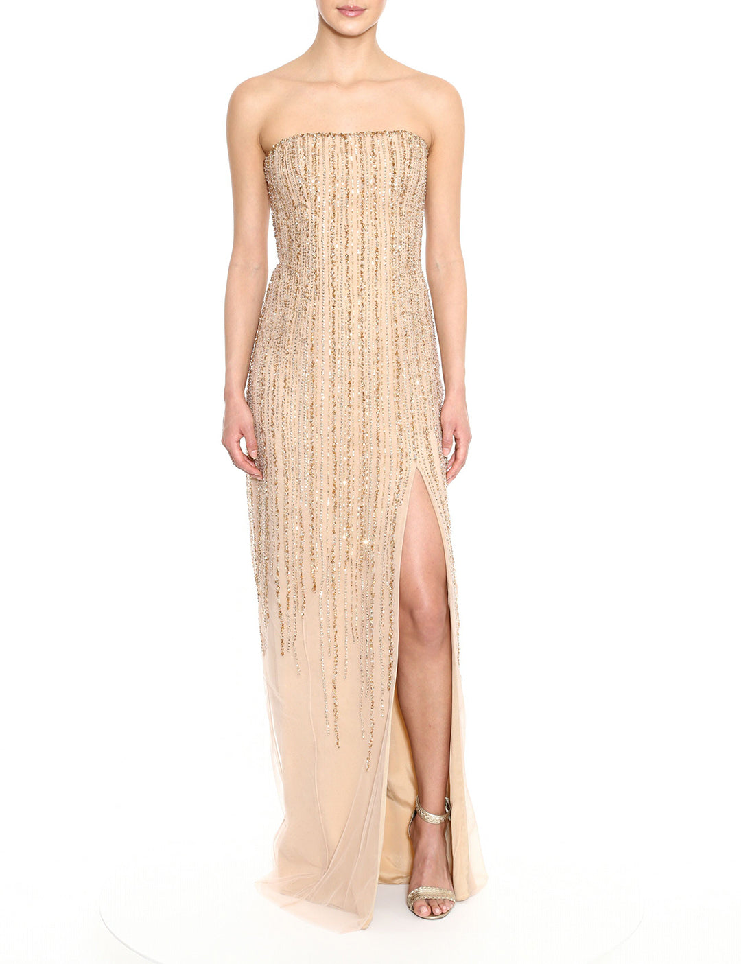 Strapless Beaded Slit Gown