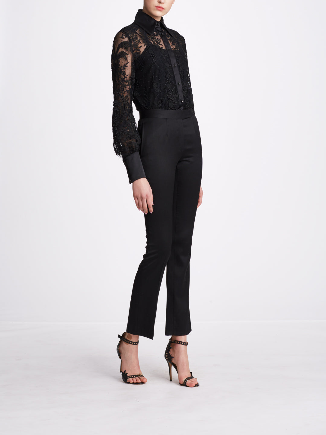 Black Corded Fern Lace Blouse