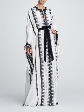 Black and ivory lace caftan