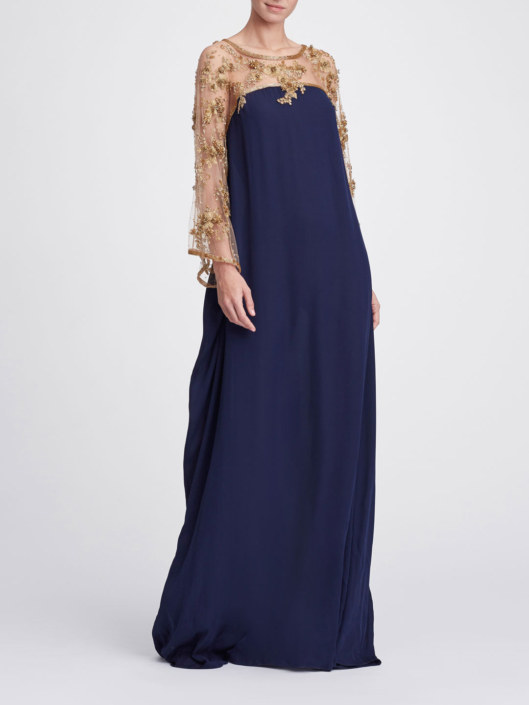 Gold metallic embroidered caftan