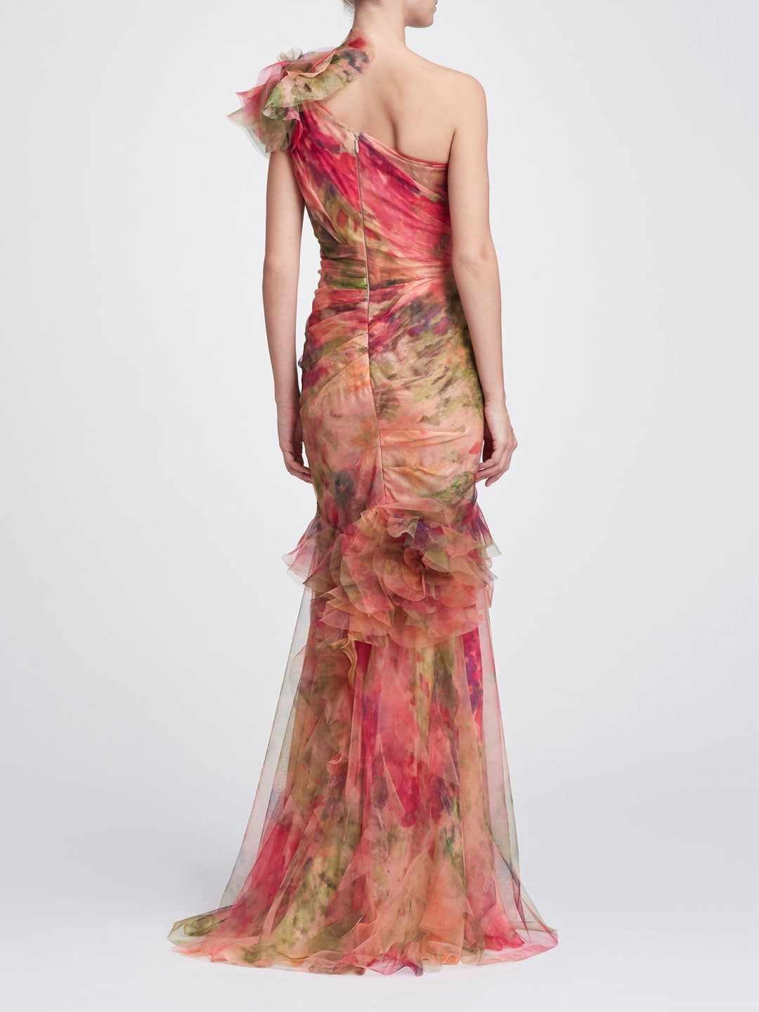 One-Shoulder printed silk organza gown